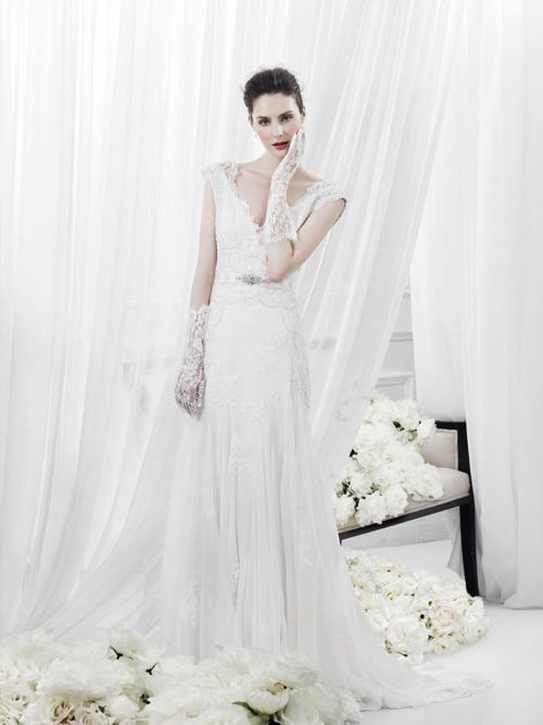 Annasul y. wedding dress rich lace detail v-neck