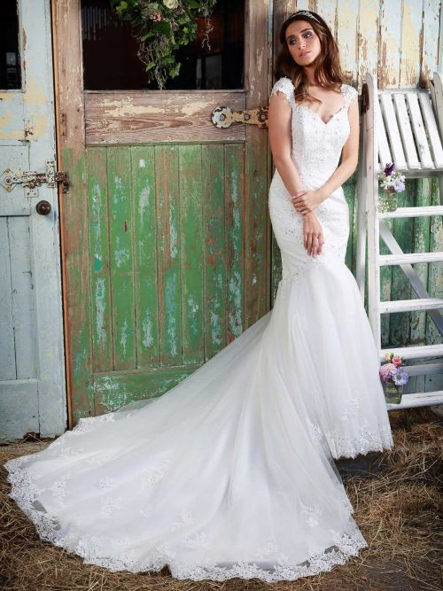 Paislee Wedding dress Amanda Wyatt figure hugging fishtail lace