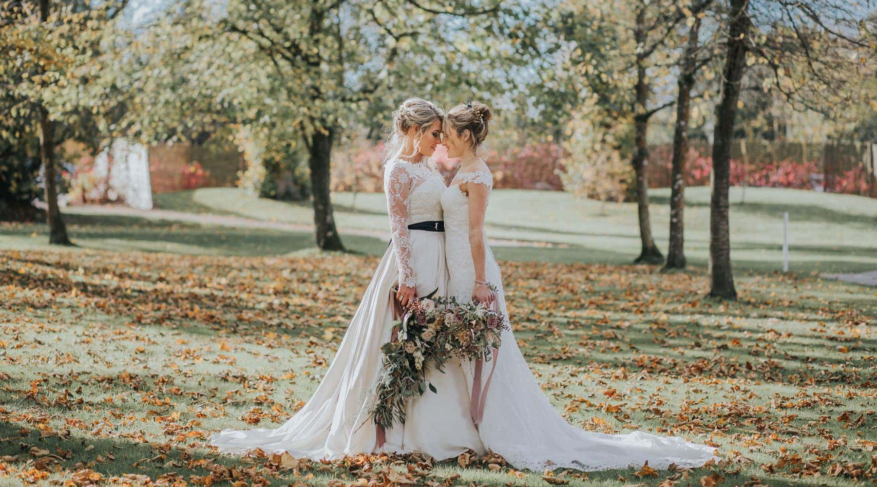 Sass & Grace Real bride stories, Clare & Kim, two brides on their wedding day, face to face in love