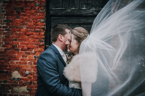 Sass & Grace Bride Nikki and husband in Jasmine wedding dress