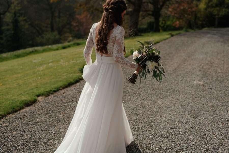 Georgie wears customised Cymbeline gown