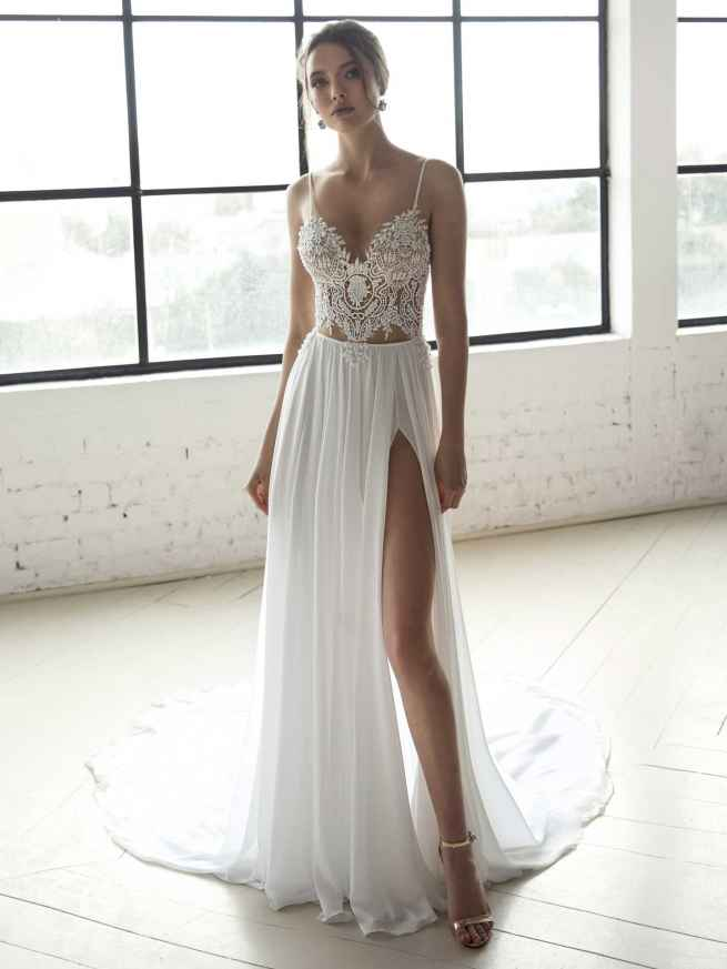 Julie Vino Blanche 1558 Front Wedding Dress