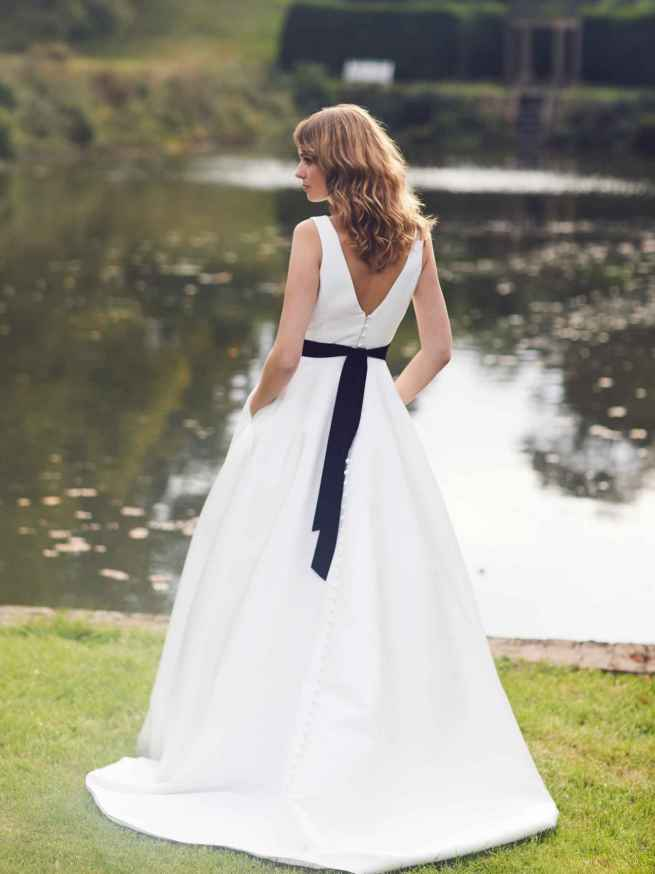 Anslow by Lyn Ashworth is a Mikado wedding dress gown, simple clean lines, a-line full skirt that flatters figure, on trend pockets