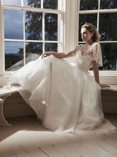 Florence Ball gown wedding dress by Lyn Ashworth, beaded bodice, full silk organza skirt, clean lines, matching cape.