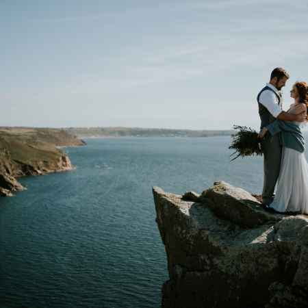 Cornish clifftop elopement wedding