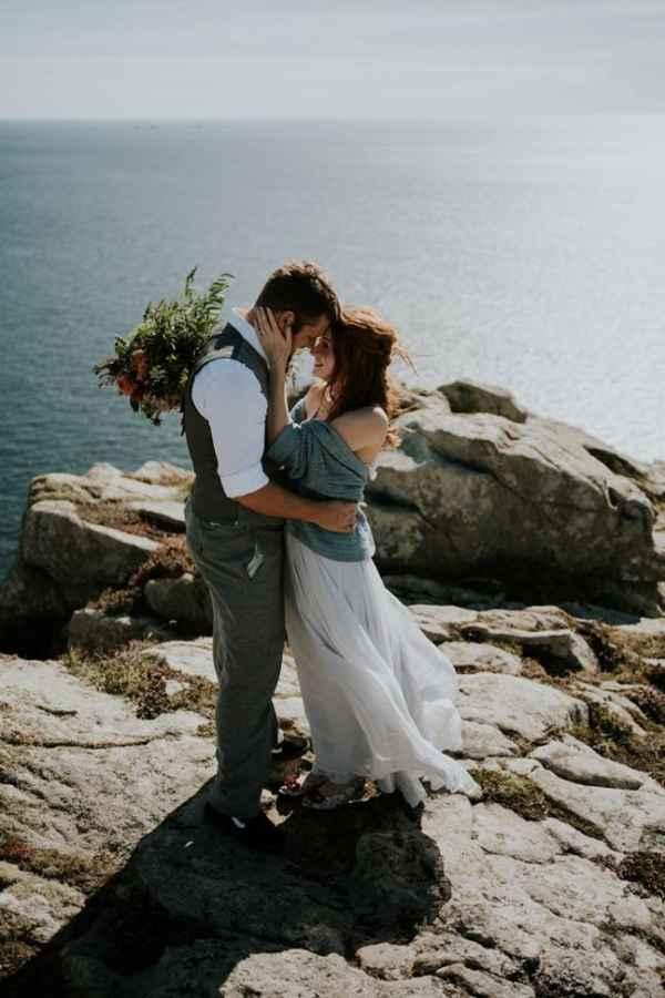 Cornish clifftop elopement wedding